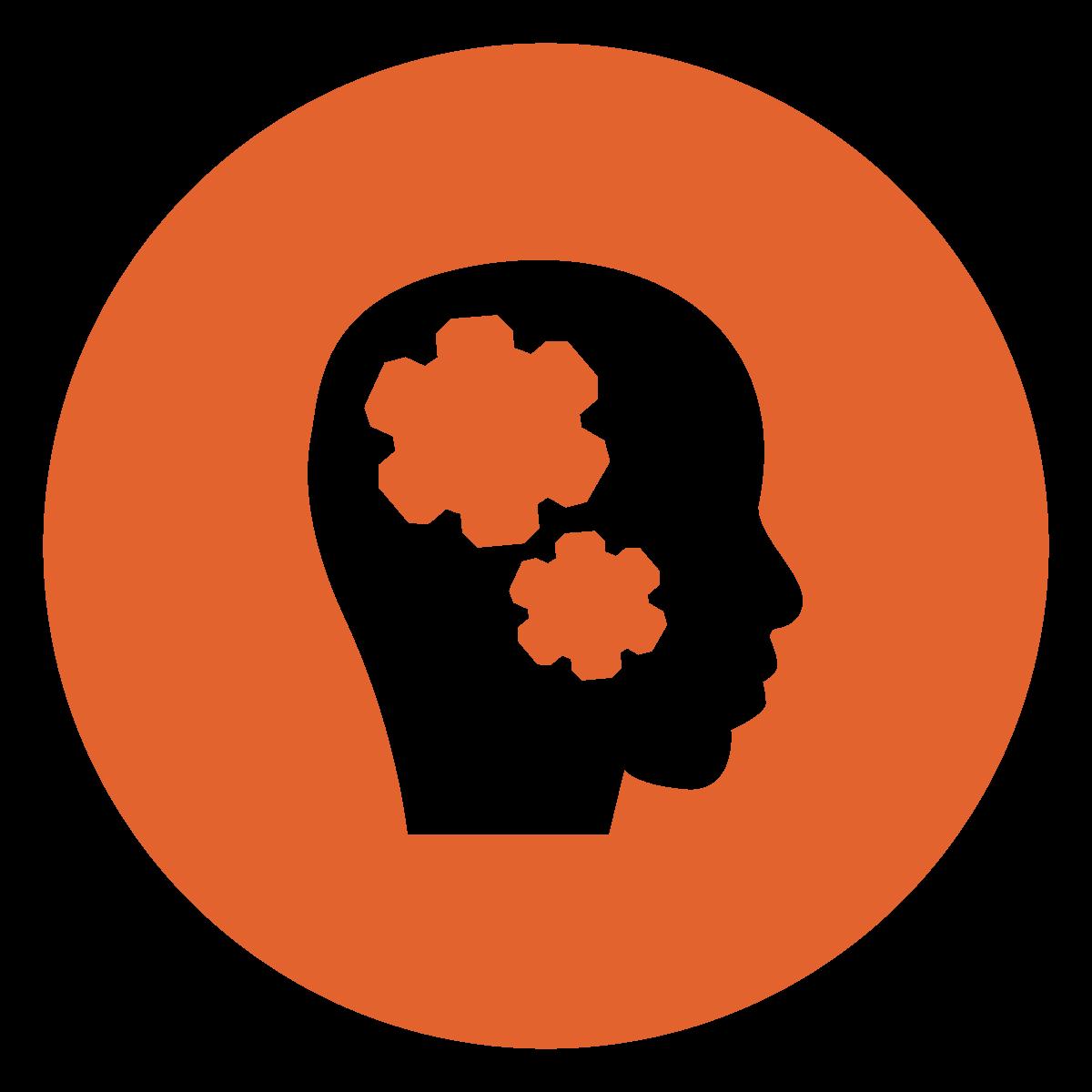 white silhouette profile of head with gears inside a dark orange circle