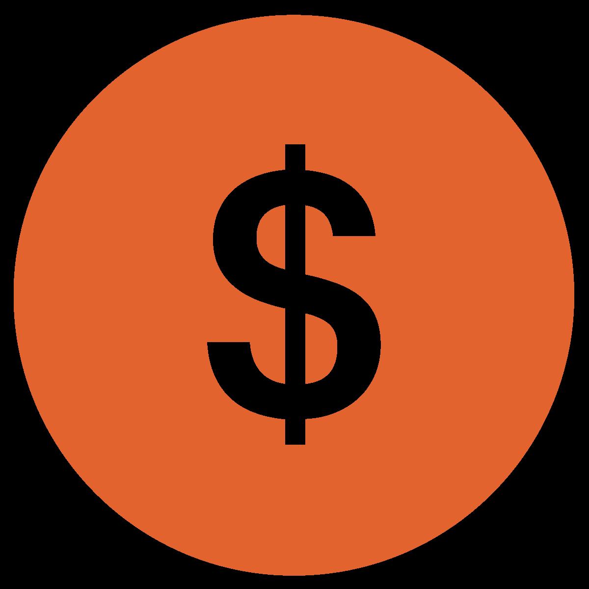 white dollar sign in a dark orange circle
