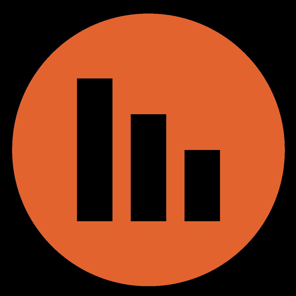 descending bar graphs in a dark orange circle