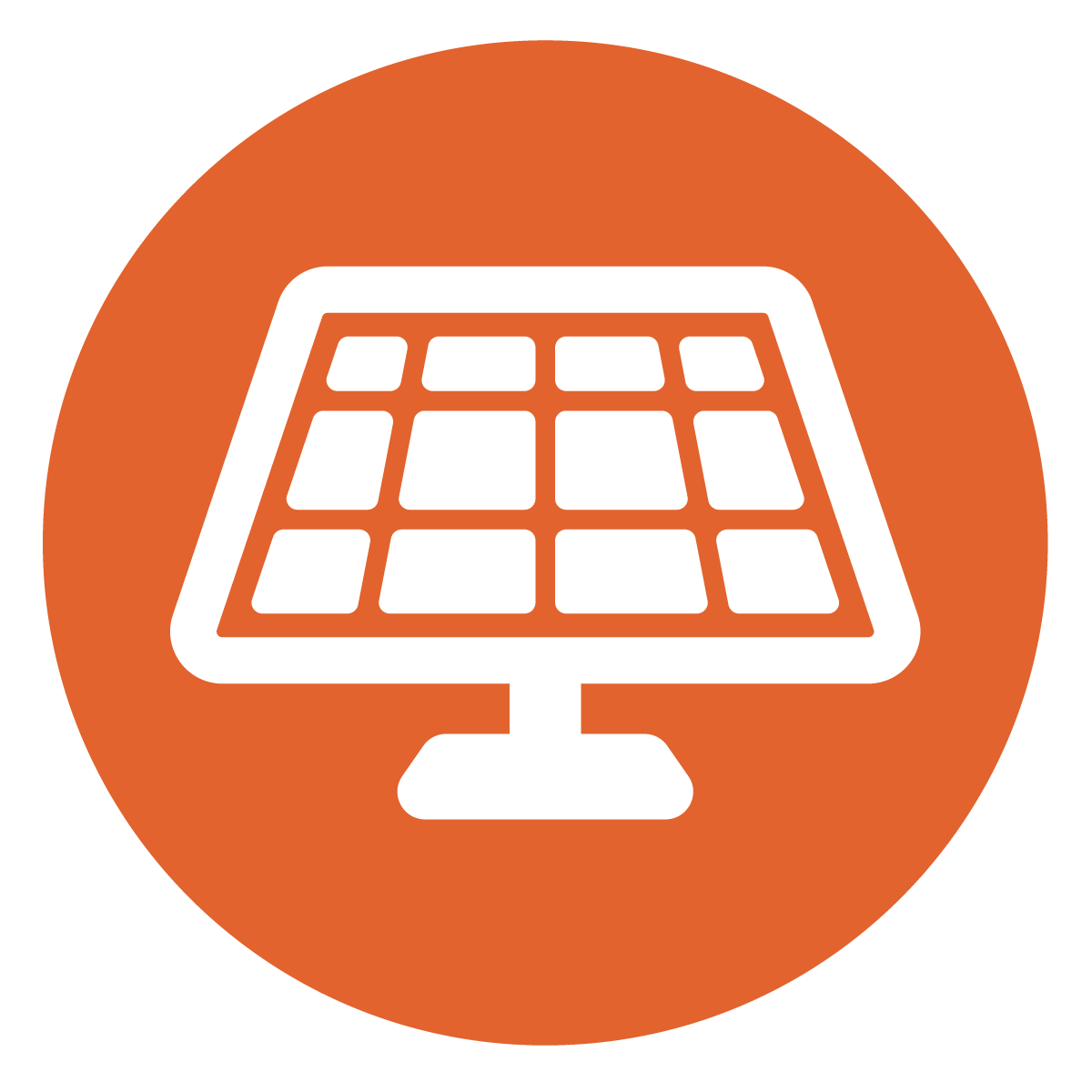 white solar panel in dark orange circle