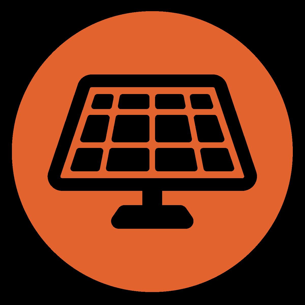 white solar panel in dark orange circle